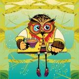 在树饮用的茶的猫头鹰 向量例证