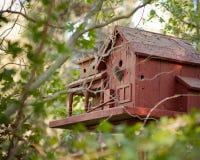 紧贴在树从木头做的一个棕色二层的鸟房子 免版税库存图片