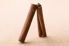在栓木背景的两根肉桂条。 免版税图库摄影