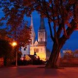 在Gornji毕业的秋天晚上在萨格勒布 免版税图库摄影