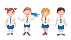 在校服的愉快的孩子 免版税库存图片