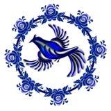 在样式Gzhel的蓝鸫在白色背景的圈子里面 皇族释放例证
