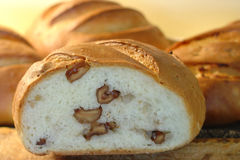 在核桃上添面包 免版税图库摄影