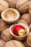 在核桃壳的圣诞节装饰  库存图片