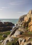 在根西岛的沿海场面, 免版税库存图片