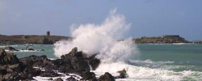 在根西岛的沿海场面 免版税图库摄影