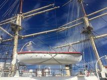 在格丁尼亚口岸的Dar Mlodziezy高船 免版税库存照片