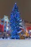在格但斯克老城镇的圣诞树  免版税库存图片