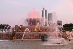 在格兰特公园的白金汉喷泉在芝加哥,伊利诺伊 免版税库存照片