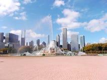 在格兰特公园的白金汉喷泉在芝加哥,美国 免版税库存图片