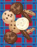在格子呢的曲奇饼 图库摄影