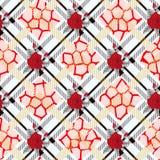在格子花呢披肩背景的美好的红色花纹花样 样式上升了, eps10 库存照片