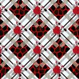 在格子花呢披肩背景的美好的红色花纹花样 样式上升了, eps 10 库存图片