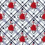 在格子花呢披肩背景的美好的红色花纹花样 样式上升了, eps 10 图库摄影