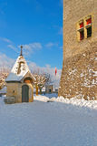 在格律耶尔城堡前面的广场在瑞士 免版税库存照片