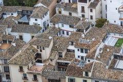 在格拉纳达屋顶上的鸟瞰图 免版税库存图片