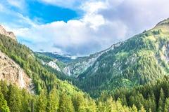 在格斯塔德,瑞士附近的山风景 免版税图库摄影