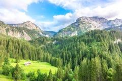 在格斯塔德,瑞士附近的山风景 免版税库存照片
