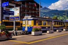 在格林德瓦火车站,瑞士的火车 免版税库存照片