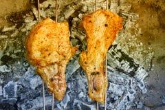 在格栅烹调的烤肉可口肉 烤肉党 猪肉肉片在开火烤了 免版税图库摄影