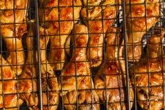 在格栅的开胃鸡腿 免版税库存照片