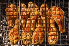 在格栅的开胃鸡腿 免版税库存图片