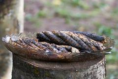 在格栅的油煎的鲭鱼 免版税库存照片