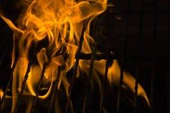 在格栅的火 免版税库存照片