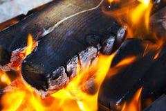 在格栅的灼烧的篝火 免版税库存图片