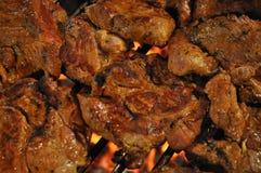 在格栅的炸肉排肉 库存图片