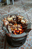 在格栅的烤猪肉 免版税库存照片