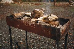 在格栅的篝火 被刺的木柴在金属伪造的火盆的火在 火和烟是可看见的 图库摄影