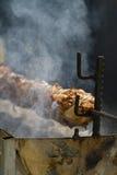 在格栅的肉食物 库存图片