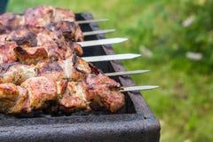 在格栅的肉 免版税库存照片