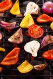 在格栅的菜bbq 图库摄影