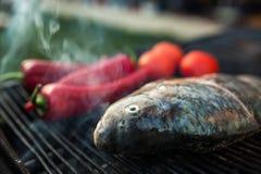 在格栅的鱼 免版税图库摄影