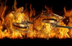 在格栅的鸡 免版税库存照片