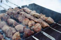 在格栅的水多的kebabs 免版税图库摄影