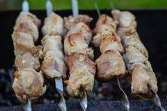 在格栅的BBQ肉在庭院里 免版税图库摄影