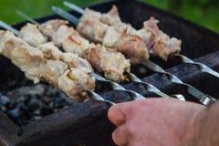 在格栅的BBQ肉在庭院里 库存照片