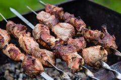 在格栅的BBQ肉在庭院里 免版税库存图片