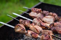 在格栅的BBQ肉在庭院里 图库摄影