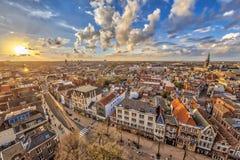 在格罗宁根市的鸟瞰图日落的 免版税库存照片