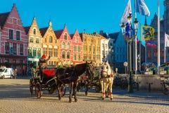 在格罗特Markt广场的马支架在布鲁日 免版税库存照片