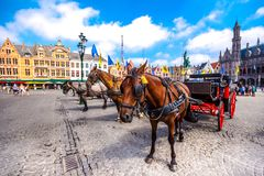 在格罗特Markt的马支架在中世纪城市布鲁基在早晨,比利时摆正 库存图片