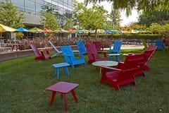 在格陵兰的五颜六色的椅子 库存照片