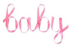 在桃红色丝带写的词婴孩 库存图片