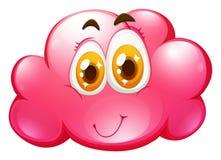 在桃红色云彩的愉快的面孔 向量例证