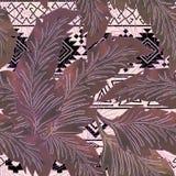 在桃红色和灰色种族样式的无缝的热带样式 图库摄影