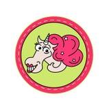 在桃红色圈子的独角兽在绿色背景 它可以为贴纸,徽章,卡片,补丁,电话盒,海报, T恤杉使用 皇族释放例证